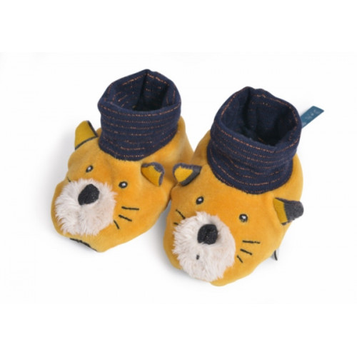 CHAUSSONS CHAT MOUTARDE LULU LES MOUSTACHES